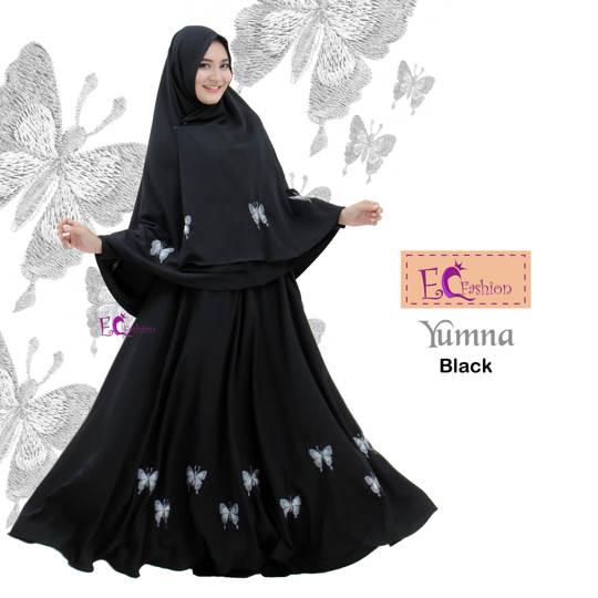 Dress Yumna Black  1 /Baju Muslim
