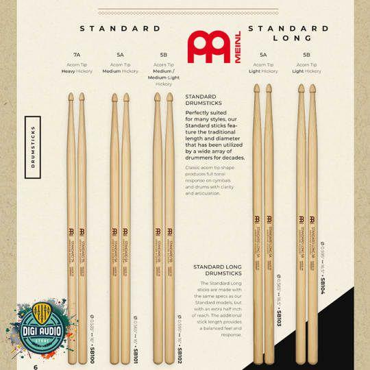 Stick Drum Meinl Standar & Long 7A 5A 5B Oval Tip - Drumstick - Stik