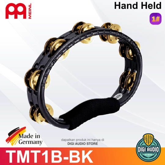 Meinl Percussion Hand Held Tambourine TMT1B-BK Brass Jingle 2 Row