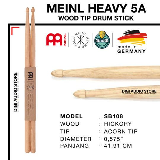 STICK DRUM MEINL SB108 MEINL HEAVY 5A WOOD TIP DRUM STICK