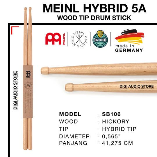 STICK DRUM MEINL SB106 MEINL HYBRID 5A WOOD TIP DRUM STICK