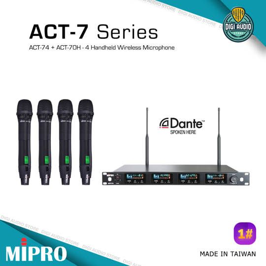 Wireless Microphone - Quad Channel MIPRO - Receiver ACT-74 + 4 Pc ACT-70H Handheld Mic
