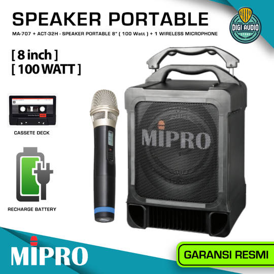 Speaker Portable + 1 Microphone Wireless - 8 inch 100 Watt - Bluetooth Music & USB MP3 Player & Recording - MIPRO MA-707 + ACT-32H ( MA707-ACT32H )