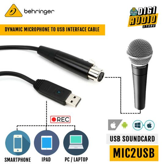 Behringer MIC 2 USB Adapter Cable USB to XLR for Dynamic Microphone - MIC2USB