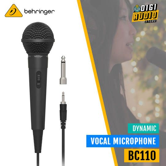 Behringer BC110 Dynamic Vocal Microphone with Cable Jack 3.5mm & Adapter Jack 6.5mm