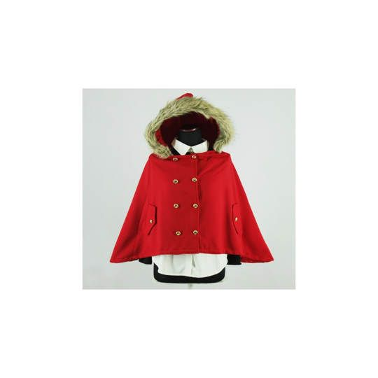 JAKET CAPE FUR CLOAK RED