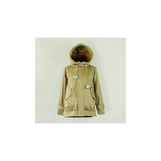 Jaket City Coat Bordir CREAM