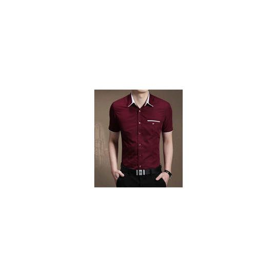 -24% [kemeja winston maroon OT] pakaian pria kemeja lengan pendek maroon ...