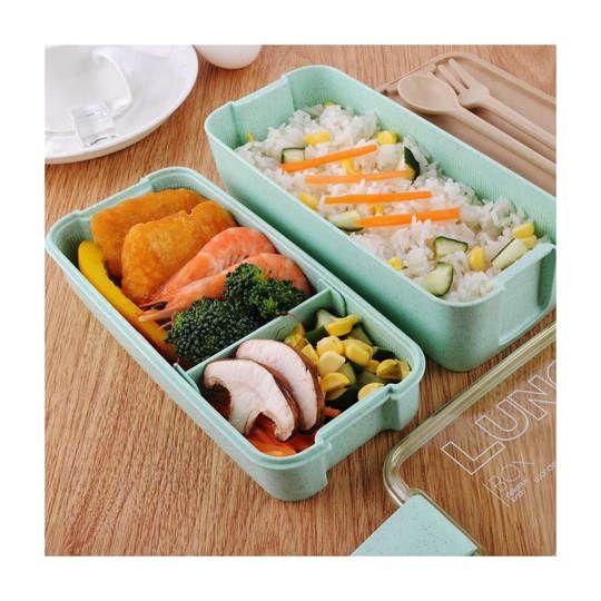 CPLIFE Kotak Makan 3 Layer Healthy Bento Lunch Box 900ml Spoon & Fork