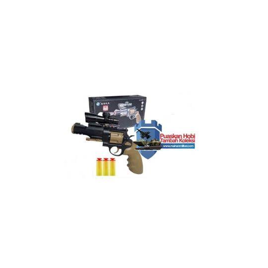 Pistol Mainan Anak M500 Dengan Peluru Busa 3 Buah